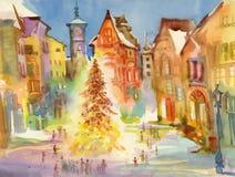 De stadscentrum van de Kerstmisvakantie De illustratie van de waterverf Royalty-vrije Stock Afbeeldingen