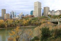 De stadscentrum van Edmonton met kleurrijke esp in de herfst Royalty-vrije Stock Foto's