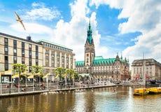 De stadscentrum van Hamburg met stadhuis en Alster-rivier stock afbeelding