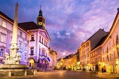De stadscentrum van Ljubljana, Slovenië, Europa. Stock Fotografie