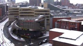 De stadscentrum van Manchester in de winter stock videobeelden