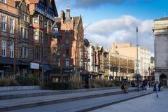 De stadscentrum van Nottingham, het UK stock fotografie