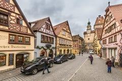 De stadscentrum van Rothenburg ob der Tauber Stock Foto