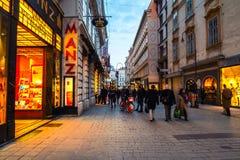 De stadscentrum van Wenen bij nacht stock foto's