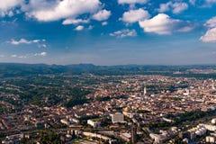 De stadscentrum van Zagreb van lucht Royalty-vrije Stock Fotografie