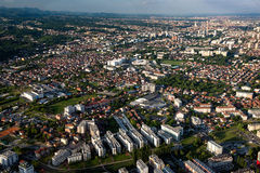 De stadscentrum van Zagreb van lucht Royalty-vrije Stock Afbeelding