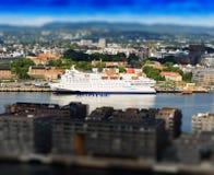 De stadscityscape van Oslo achtergrond stock afbeeldingen