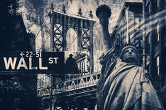 De Stadscollage van New York met inbegrip van het Standbeeld van Vrijheid en severa stock afbeelding