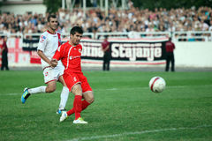 De stadsderby HSK Zrinjski Mostar v FK Velez M van het voetbal Stock Afbeeldingen