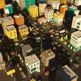 De stadsdistrict van de beeldverhaalstad 3d de weg van de straatkruising Zeer Hoog Detail De gebouwen hoogste mening van het auto royalty-vrije illustratie