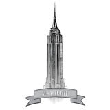 De Stadsetiket van New York. Het vectorlandschap van de V.S. Hand getrokken schetsillustratie Stock Foto's