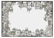 De stadsgrens van de beeldverhaal vectorbouw vector illustratie