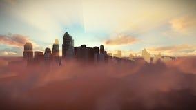 De stadshorizon boven wolken bij zonsondergang, dolly schot vector illustratie