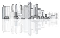 De Stadshorizon Grayscale van Singapore met Bezinningsillustratie Royalty-vrije Stock Afbeelding