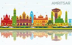 De Stadshorizon van Amritsarindia met Kleurengebouwen, Blauwe Hemel en R vector illustratie