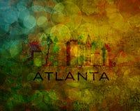 De Stadshorizon van Atlanta op Grunge-Achtergrondillustratie Stock Foto