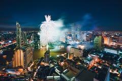 De stadshorizon van Bangkok stock foto's