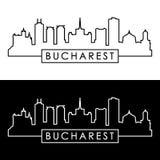 De stadshorizon van Boekarest lineaire stijl stock illustratie
