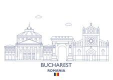 De Stadshorizon van Boekarest, Roemenië royalty-vrije illustratie