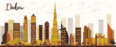 De Stadshorizon van Doubai met gouden wolkenkrabbers Royalty-vrije Stock Afbeeldingen