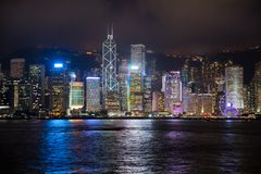 De stadshorizon van Hongkong Stock Foto's
