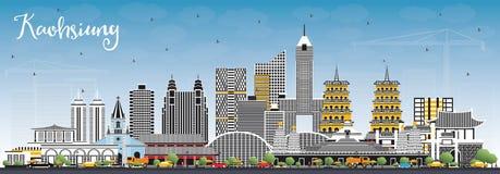 De Stadshorizon van Kaohsiungtaiwan met Gray Buildings en Blauwe Hemel stock illustratie
