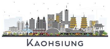 De Stadshorizon van Kaohsiungtaiwan met Gray Buildings Isolated op Wit royalty-vrije illustratie