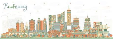 De Stadshorizon van Kaohsiungtaiwan met Kleurengebouwen royalty-vrije illustratie
