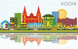De Stadshorizon van Kochiindia met Kleurengebouwen, Blauwe Hemel en Refl stock illustratie