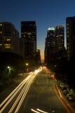 De stadshorizon van Los Angeles bij nacht. Royalty-vrije Stock Afbeelding