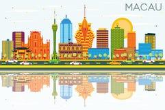 De Stadshorizon van Macao China met Kleurengebouwen, Blauwe Hemel en Refl royalty-vrije illustratie