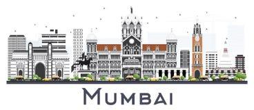 De Stadshorizon van Mumbaiindia met Kleurengebouwen op Wit wordt geïsoleerd dat stock illustratie