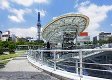 De stadshorizon van Nagoya, Japan met de Toren van Nagoya Royalty-vrije Stock Afbeeldingen