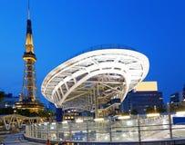 De stadshorizon van Nagoya, Japan met de Toren van Nagoya Stock Fotografie