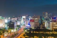 De stadshorizon van Nagoya met oriëntatiepunt van Nagoya in schemering Royalty-vrije Stock Afbeelding
