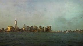 De Stadshorizon van New York met Artistieke Textuur stock afbeelding
