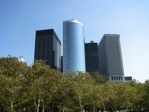 De Stadshorizon van New York met bomen Stock Foto's