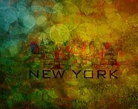 De Stadshorizon van New York op Grunge-Achtergrondillustratie Royalty-vrije Stock Afbeeldingen