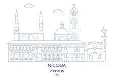 De Stadshorizon van Nicosia, Cyprus Stock Fotografie