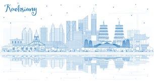 De Stadshorizon van overzichtskaohsiung Taiwan met Blauwe Gebouwen en Bezinningen royalty-vrije illustratie