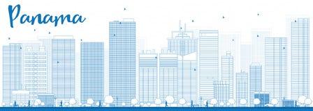 De Stadshorizon van overzichtspanama met blauwe wolkenkrabbers Royalty-vrije Stock Afbeelding