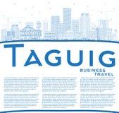 De Stadshorizon van overzichtstaguig Filippijnen met Blauwe Gebouwen en Stock Afbeelding