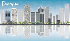 De Stadshorizon van Panama met grijze wolkenkrabbers en bezinningen Stock Afbeeldingen
