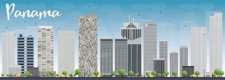 De Stadshorizon van Panama met grijze wolkenkrabbers en blauwe hemel Stock Foto