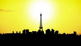 De stadshorizon van Parijs bij zonsondergang, timelapse stock illustratie