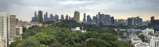 De Stadshorizon van Singapore met Groen Landschap Stock Afbeeldingen