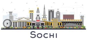De Stadshorizon van Sotchi Rusland met Kleurengebouwen op Wit wordt geïsoleerd dat Royalty-vrije Stock Fotografie