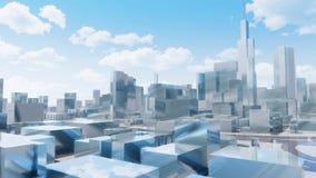De stadshorizon van spiegelchicago tegen bewolkte hemel royalty-vrije illustratie
