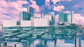 De stadshorizon van spiegeltokyo tegen bewolkte hemel 4K royalty-vrije illustratie