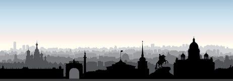 De stadshorizon van St. Petersburg, Rusland Het silhouet van het toeristenoriëntatiepunt stock illustratie
